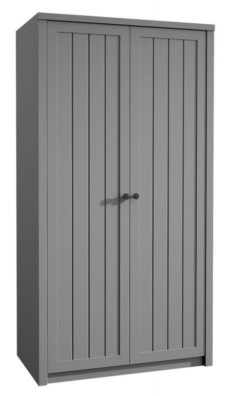 Drehtürenschrank / Kleiderschrank Segnas 09, Farbe: Grau - 198 x 90 x 53 cm (H x B x T)