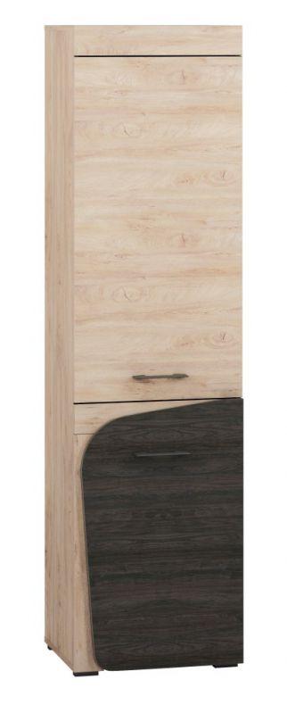 Schrank Gainesville 02, Farbe: Eiche hell / Dunkelbraun - Abmessungen: 199 x 53 x 40 cm (H x B x T), mit 2 Türen und 5 Fächern