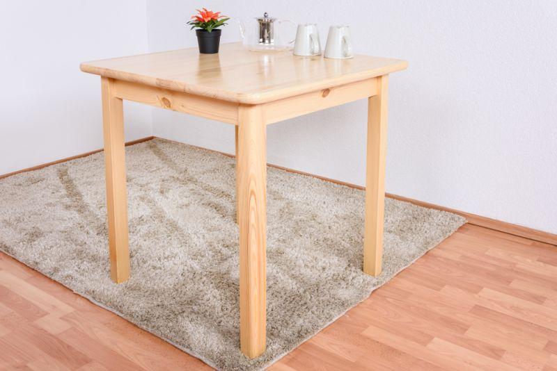 Tisch Kiefer massiv Vollholz natur 002 (eckig) - Abmessungen: 75 x 75 cm (B x T)