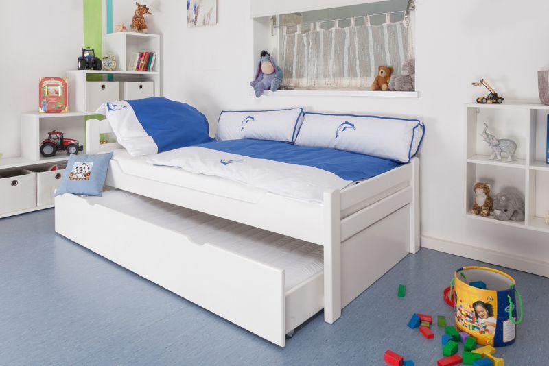 """Kinderbett / Jugendbett """"Easy Premium Line"""" K1/2h inkl. 2. Liegeplatz und 2 Abdeckblenden, 90 x 200 cm Buche Vollholz massiv weiß lackiert"""