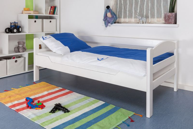 "Kinderbett / Jugendbett ""Easy Premium Line"" K1/n Sofa, Buche Vollholz massiv weiß lackiert - Maße: 90 x 190 cm"