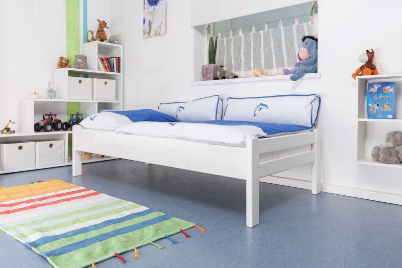 "Kinderbett / Jugendbett ""Easy Premium Line"" K1/1n, Buche Vollholz massiv weiß lackiert - Maße: 90 x 200 cm"