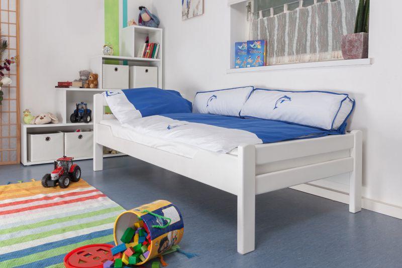 "Kinderbett / Jugendbett ""Easy Premium Line"" K1/2n, Buche Vollholz massiv weiß lackiert - Maße: 90 x 200 cm"