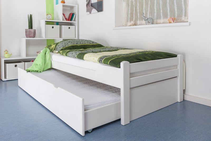 Easy Premium Line Einzelbett Massivholz-Bettgestell Liegefläche 90 x 200 aus hochwertigem Buchenholz (Hartholz) deckend weiß lackiert - für Erwachsene, Jugendliche und Kinder. Im Schlafzimmer oder Gästezimmer.