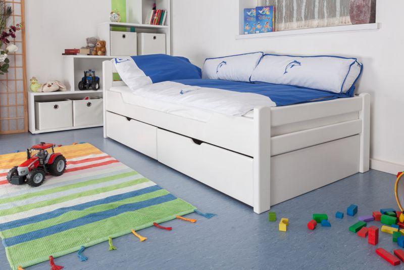 """Kinderbett / Jugendbett """"Easy Premium Line"""" K1/2n inkl. 2 Schubladen und 2 Abdeckblenden, 90 x 200 cm Buche Vollholz massiv weiß lackiert"""