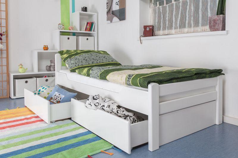 """Einzelbett / Gästebett """"Easy Premium Line"""" K1/2n inkl. 2 Schubladen und 2 Abdeckblenden, 90 x 200 cm Buche Vollholz massiv weiß lackiert"""