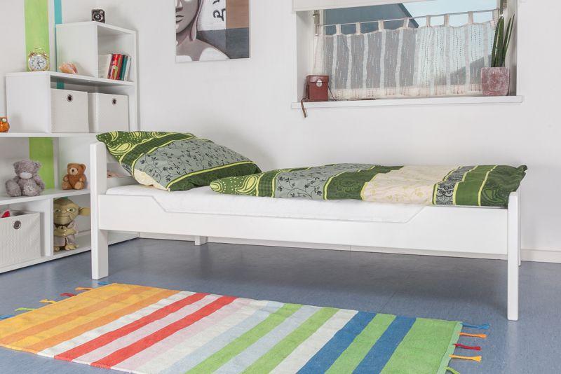 """Einzelbett """"Easy Premium Line"""" K1/2n, Buche Vollholz massiv weiß lackiert"""