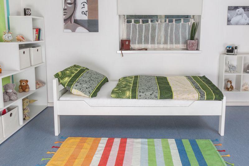 """Einzelbett """"Easy Premium Line"""" K1/2n, Buche Vollholz massiv weiß lackiert - Maße: 90 x 190 cm"""