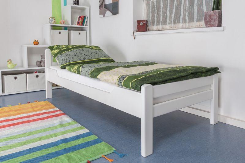"""Einzelbett """"Easy Premium Line"""" K1/2n, Buche Vollholz massiv weiß lackiert - Maße: 90 x 200 cm"""