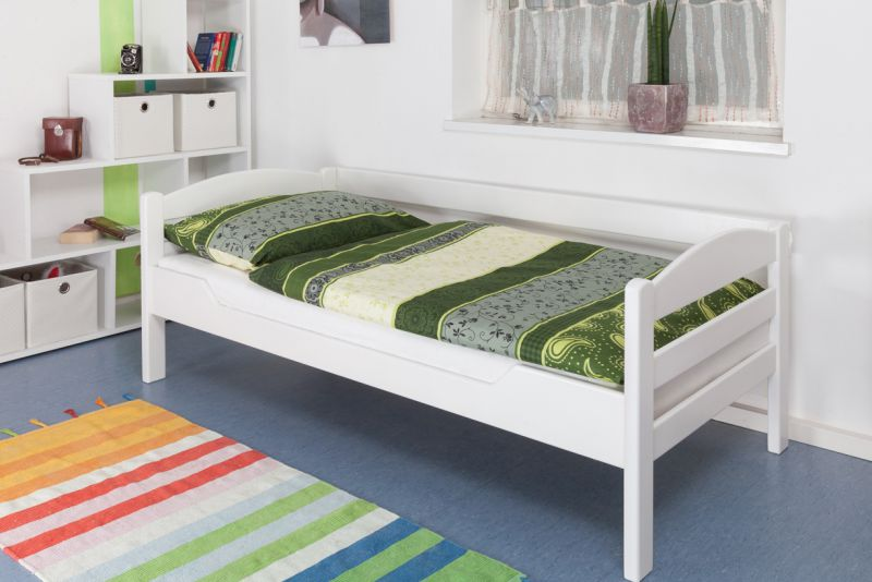 """Einzelbett """"Easy Premium Line"""" K1/n/s, Buche Vollholz massiv weiß lackiert - Maße: 90 x 200 cm"""