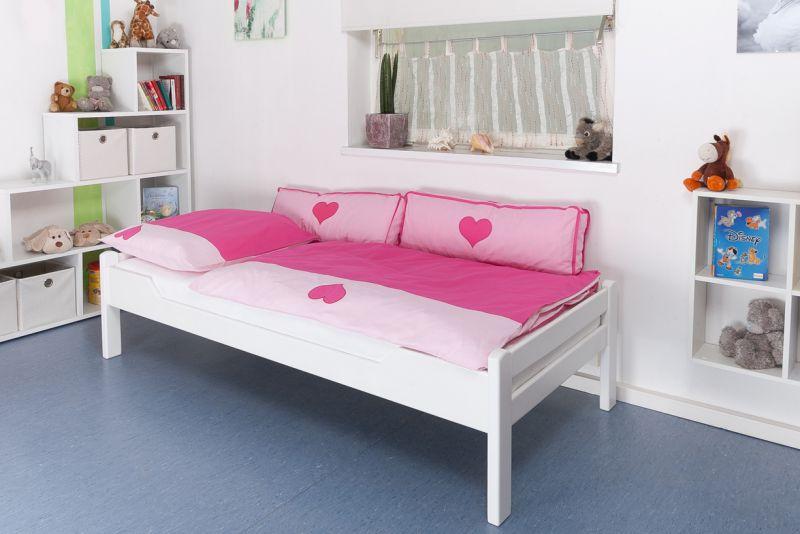 "Kinderbett / Jugendbett ""Easy Premium Line"" K1/1n, Buche Vollholz massiv weiß lackiert - Maße: 90 x 190 cm"