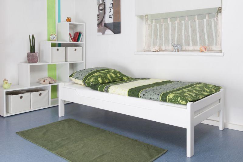 """Einzelbett """"Easy Premium Line"""" K1/1n, Buche Vollholz massiv weiß lackiert - Maße: 90 x 190 cm"""