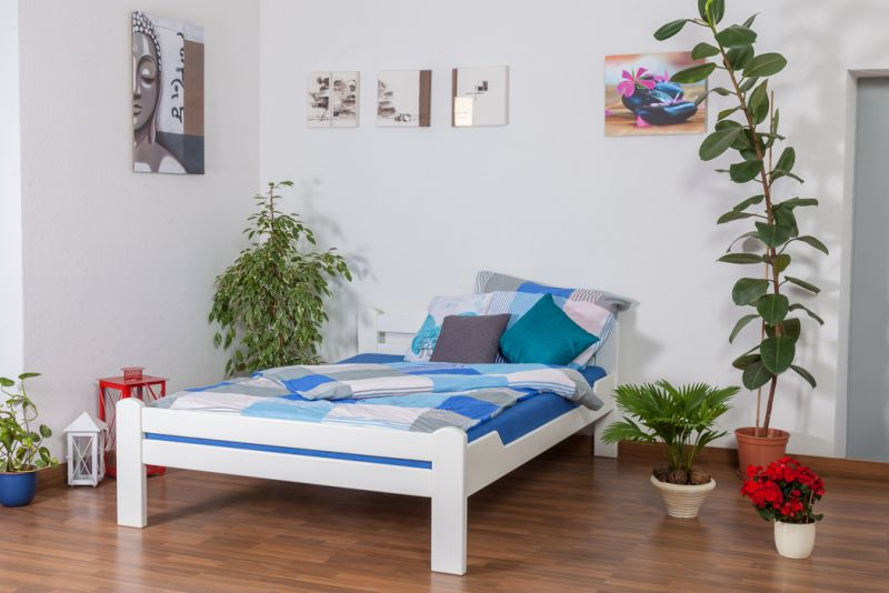 """Einzelbett / Gästebett """"Easy Premium Line"""" K4, 140 x 200 cm Buche Vollholz massiv weiß lackiert"""