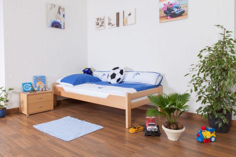 "Kinderbett / Jugendbett ""Easy Premium Line"" K1/1n, Buche Vollholz massiv Natur - Maße: 90 x 190 cm"