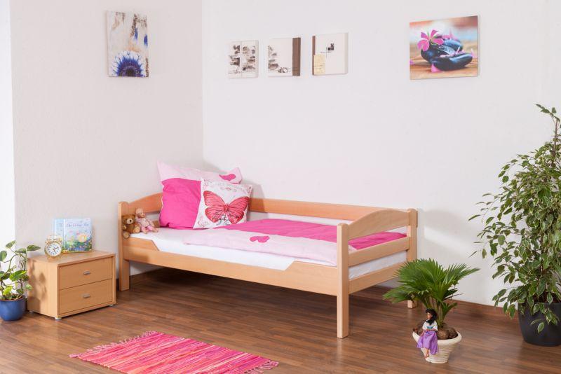 "Jugendbett / Kinderbett ""Easy Premium Line"" K1/n/s, Buche Vollholz massiv Natur - Maße: 90 x 200 cm"