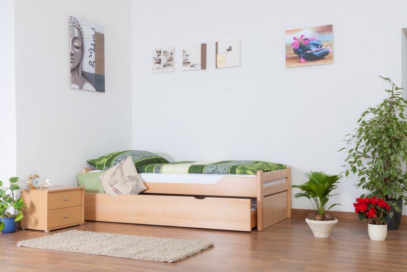 """Einzelbett / Ausziehbett """"Easy Premium Line"""" K1/1h inkl. 2. Liegeplatz und 2 Abdeckblenden, 90 x 200 cm Buche Vollholz massiv Natur"""