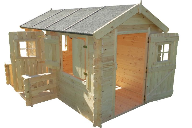 Spielhaus Deluxe Rodney Park - 2,35 x 1,75 Meter aus 19mm Blockbohlen