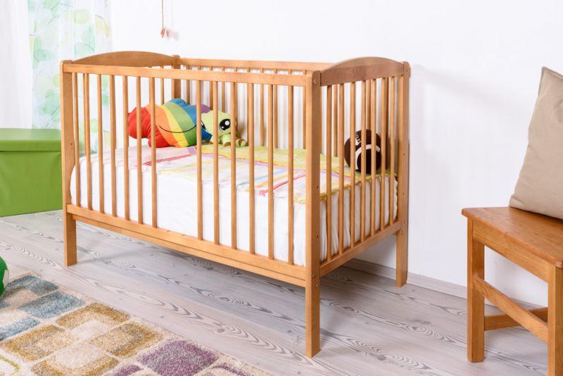 Gitterbett / Kinderbett Kiefer massiv Vollholz Erlefarben 103, inkl. Lattenrost - 60 x 120 cm (B x L)
