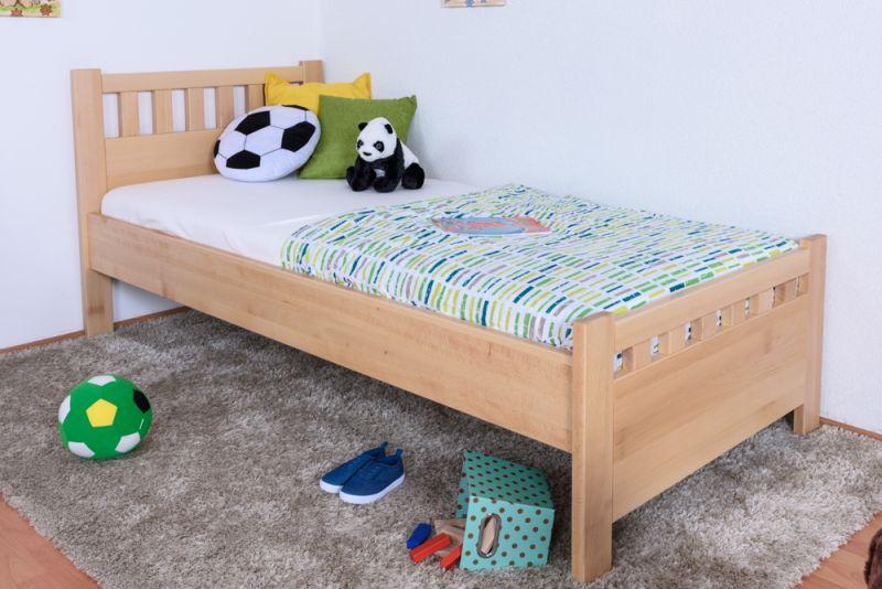 Kinderbett / Jugendbett Buche massiv Vollholz natur 109, inkl. Lattenrost - 90 x 200 cm (B x L)