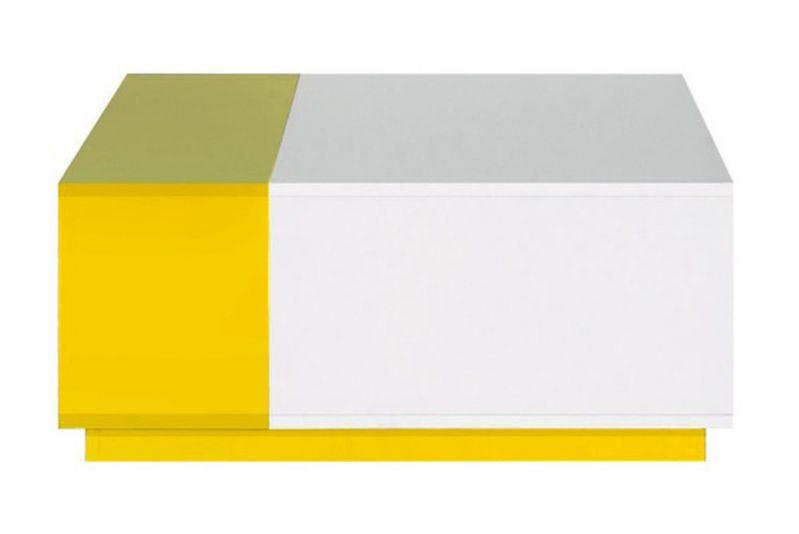 """Jugendzimmer - Couchtisch """"Geel"""" 37, Weiß / Gelb - Abmessungen: 80 x 80 x 35 cm (B x T x H)"""