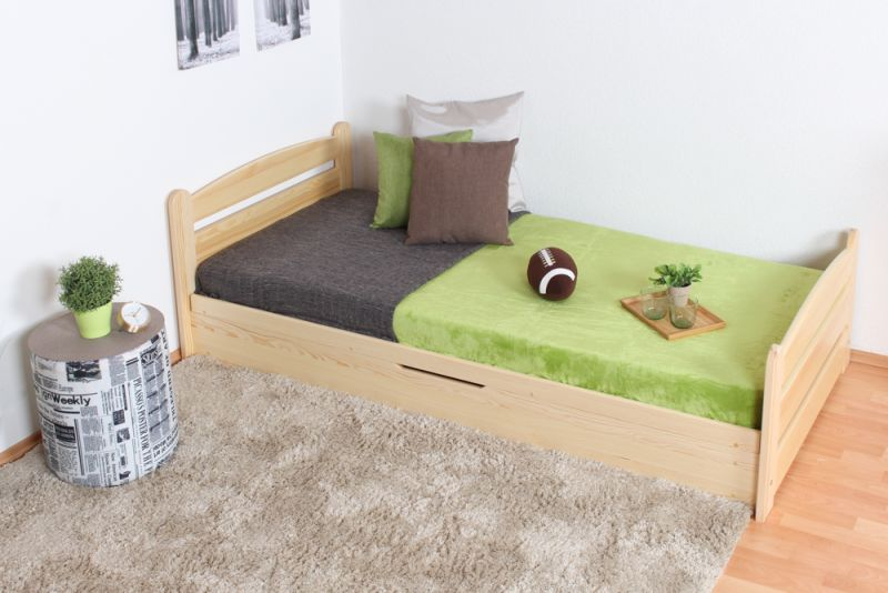 Jugendbett / Funktionsbett Kiefer massiv Vollholz natur 92, inkl. Lattenrost - 90 x 200 cm (B x T)