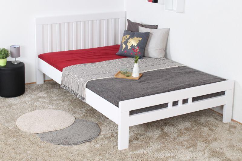 """""""Easy Premium Line"""" Doppelbett K8 in Überlänge 140 x 220 cm, Buche Vollholz massiv weiß lackiert"""
