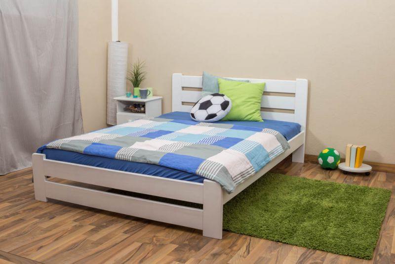 Kinderbett / Jugendbett Kiefer Vollholz massiv weiß lackiert A24, inkl. Lattenrost - Abmessung 140 x 200 cm