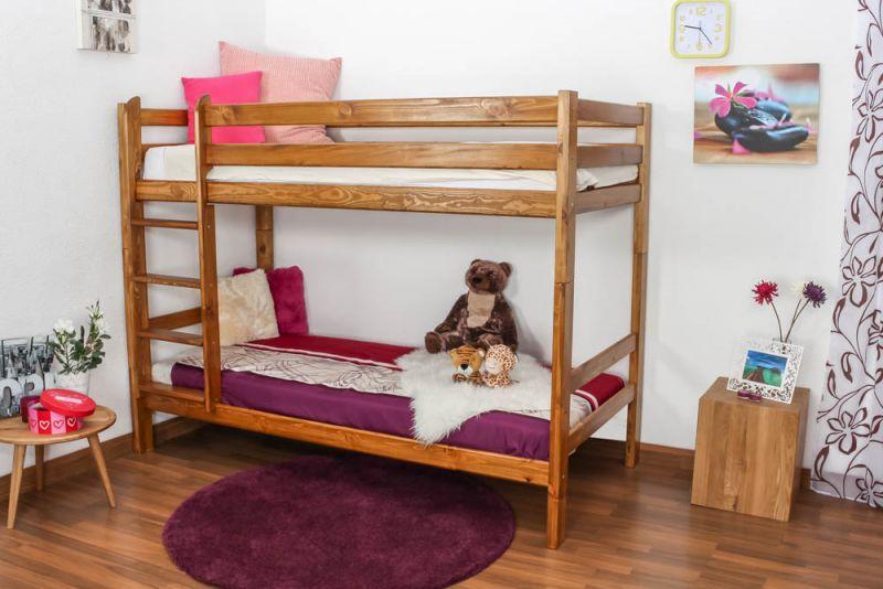 Etagenbett / Kinderbett Kiefer Vollholz massiv Eichefarben A16, inkl. Lattenroste - Abmessung 90 x 200 cm, teilbar