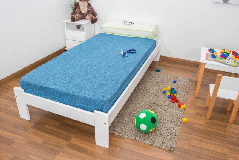 Kinderbett / Jugendbett Kiefer Vollholz massiv weiß lackiert A10, inkl. Lattenrost - Abmessung 90 x 200 cm