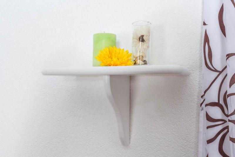 Hängeregal / Wandregal Kiefer Vollholz massiv weiß lackiert 020 - Abmessung 24 x 40 x 20 cm (H x B x T)