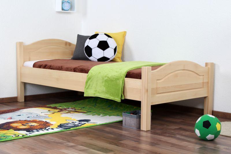 Kinderbett / Jugendbett Buche massiv Vollholz natur 113, inkl. Lattenrost - 90 x 200 cm (B x L)