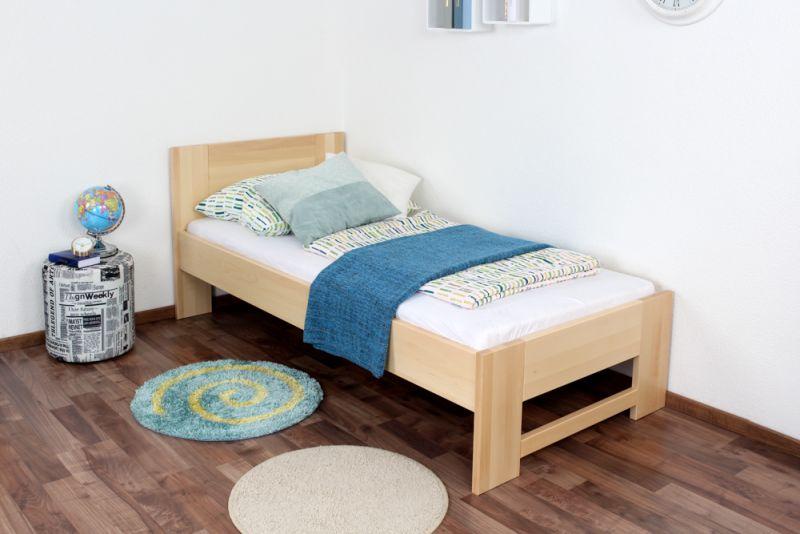 Kinderbett / Jugendbett Buche massiv Vollholz natur 111, inkl. Lattenrost - Abmessung 90 x 200 cm (B x L)