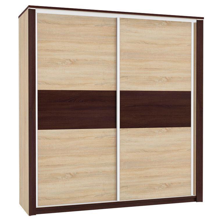 Schiebetürenschrank / Kleiderschrank Nogales 02, Farbe: Sonoma Eiche hell / dunkel - Abmessungen: 210 x 197 x 66 cm (H x B x T), mit 2 Türen und 7 Fächern