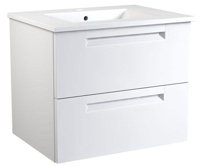 Waschtischunterschrank Purina 13, Farbe: Weiß matt – 50 x 61 x 39 cm (H x B x T)