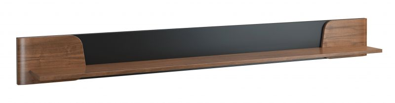 Hängeregal / Wandregal Pazin 17, Farbe: Nuss / Schwarz - 20 x 182 x 22 cm (H x B x T)