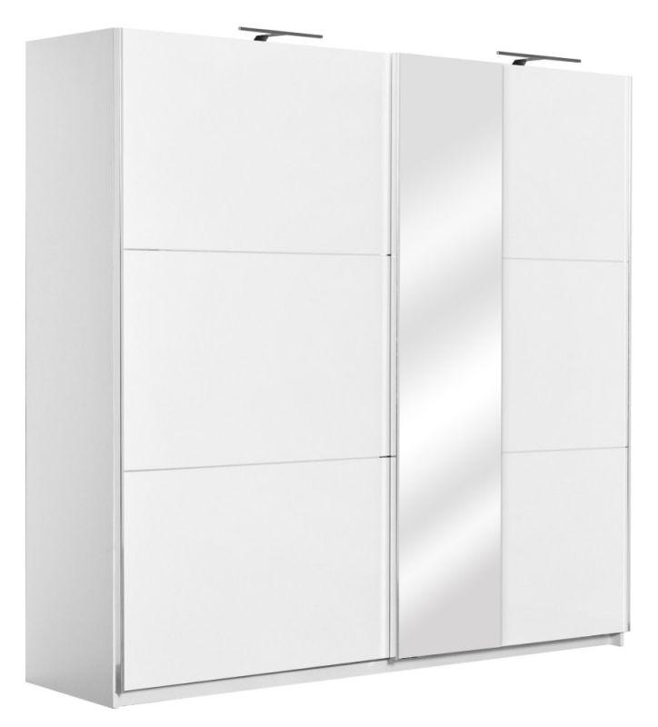 Schiebetürenschrank / Kleiderschrank Sabadell 12, Farbe: Weiß / Weiß Hochglanz - 222 x 229 x 64 cm (H x B x T)
