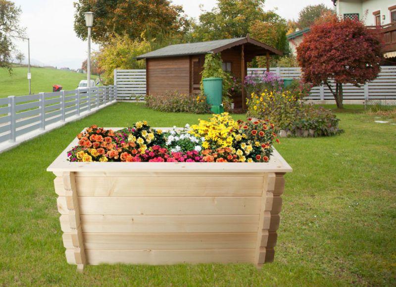 Hochbeet Gartenfreude aus Blockbohlen - Sockelmaß: 148 x 98 cm, Bohlenstärke: 44 mm