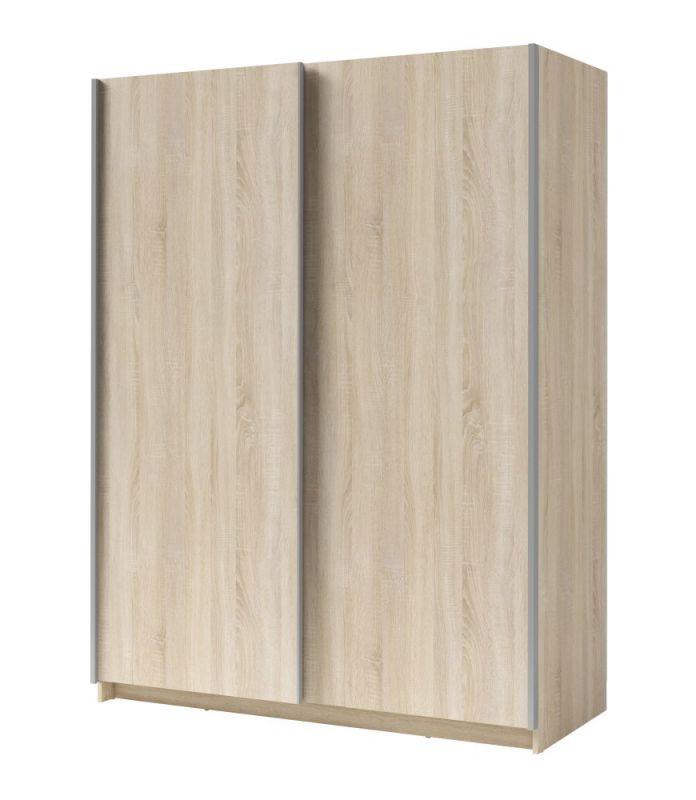 Schiebetürenschrank / Kleiderschrank Trikala 02, Farbe: Eiche - Abmessungen: 198 x 150 x 60 cm (H x B x T)