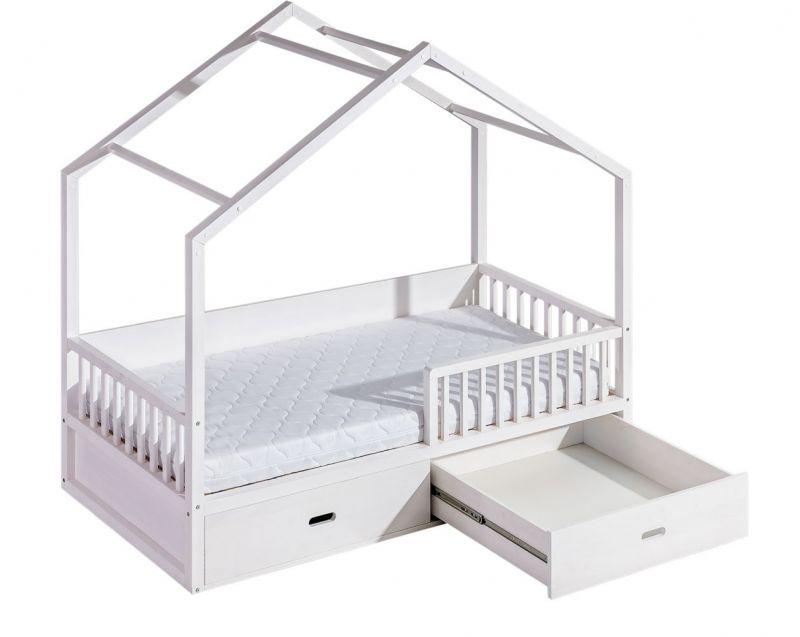 Kinderbett / Hausbett Pompano inkl. Lattenrost, Farbe: Weiß, massiv - 90 x 200 cm (B x L)