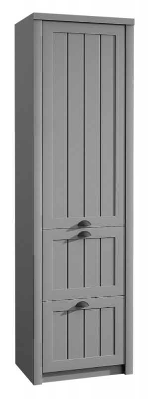 Schrank Segnas 08, Farbe: Grau - 198 x 62 x 42 cm (H x B x T)