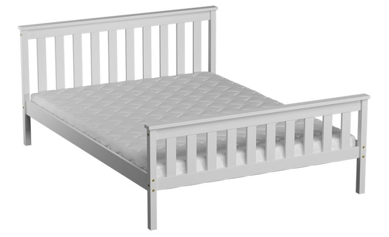 Einzelbett / Gästebett Kiefer Vollholz massiv weiß lackiert A28, inkl. Lattenrost - Abmessung 90 x 200 cm