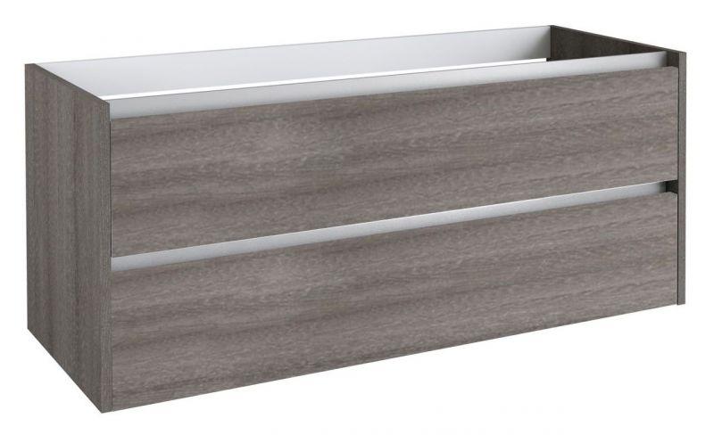 Waschtischunterschrank Kolkata 39 mit Siphonausschnitte für Doppelwaschtisch, Farbe: Esche Grau – 50 x 120 x 46 cm (H x B x T)