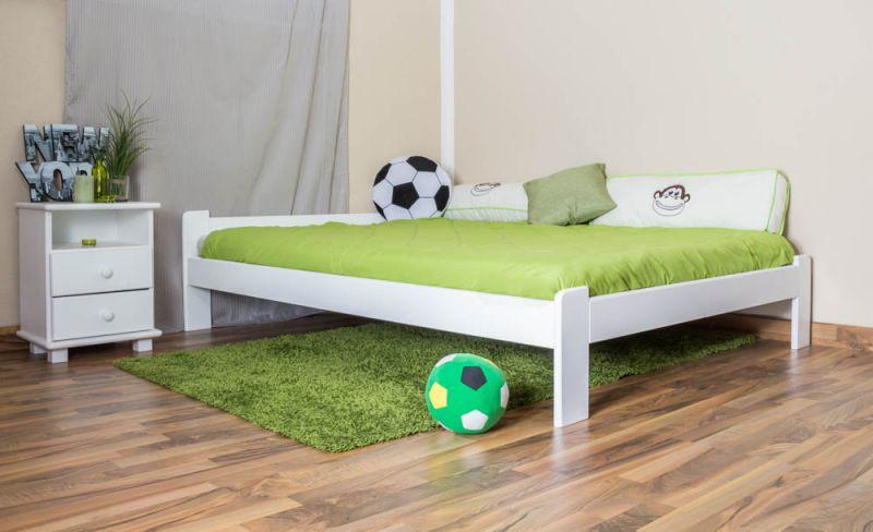 Kinderbett / Jugendbett Kiefer Vollholz massiv weiß A8, inkl. Lattenrost - Abmessungen: 140 x 200 cm
