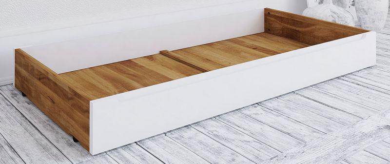 Schublade für Bett Timaru, Wildeiche geölt / Weiß, teilmassiv - Abmessungen: 15 x 65 x 150 cm (H x B x L)