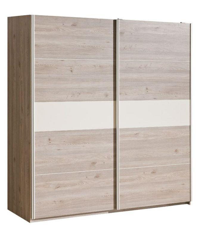 Schiebetürenschrank / Kleiderschrank Cavalla 20, Farbe: Eiche / Creme - Abmessungen: 211 x 203 x 67 cm (H x B x T)