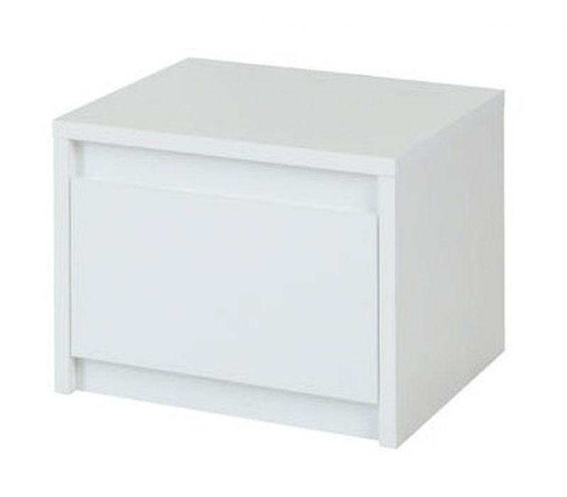 Nachtkommode Farsala 02, 2 Stück, Farbe: Weiß / Weiß Hochglanz - Abmessungen: 35 x 47 x 41 cm (H x B x T)
