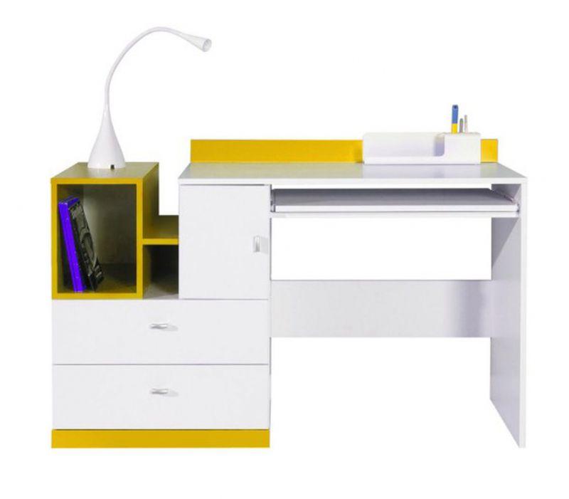 """Jugendzimmer - Schreibtisch """"Geel"""" 32, Weiß / Gelb - Abmessungen: 83 x 130 x 55 cm (H x B x T)"""