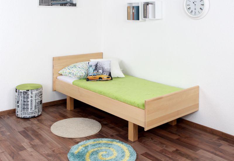 Kinderbett / Jugendbett Buche massiv Vollholz natur 116, inkl. Lattenrost - Abmessung 90 x 200 cm (B x L)