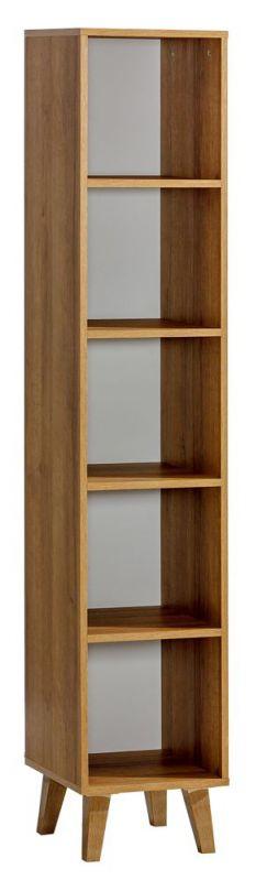 Regal Caranx 4, Farbe: Weiß / Eiche - Abmessungen: 181 x 35 x 38 cm (H x B x T)