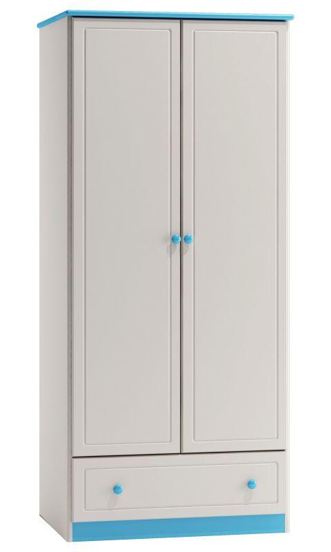 Kleiderschrank Kiefer Vollholz massiv weiß blau lackiert 003 - Abmessung 160 x 90 x 60 cm (H x B x T)